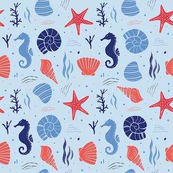 海の生物のシームレスなパターン