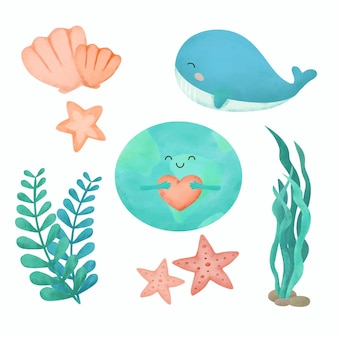 Sea life watercolor drawing with under the sea set cute whale