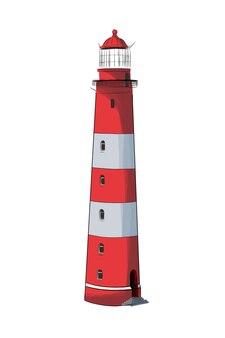 Морской маяк из разноцветных красок всплеск акварельного цветного рисунка реалистично