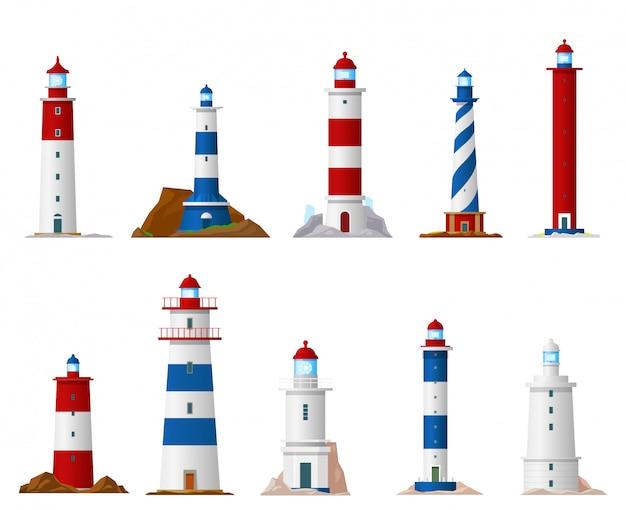 Sea lighthouse icons of nautical navigation