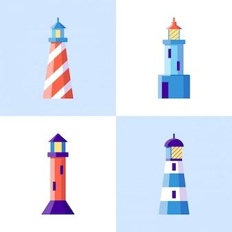 Sea lighthouse icons set