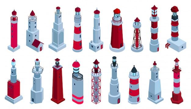 Sea lighthouse isometric set icon.