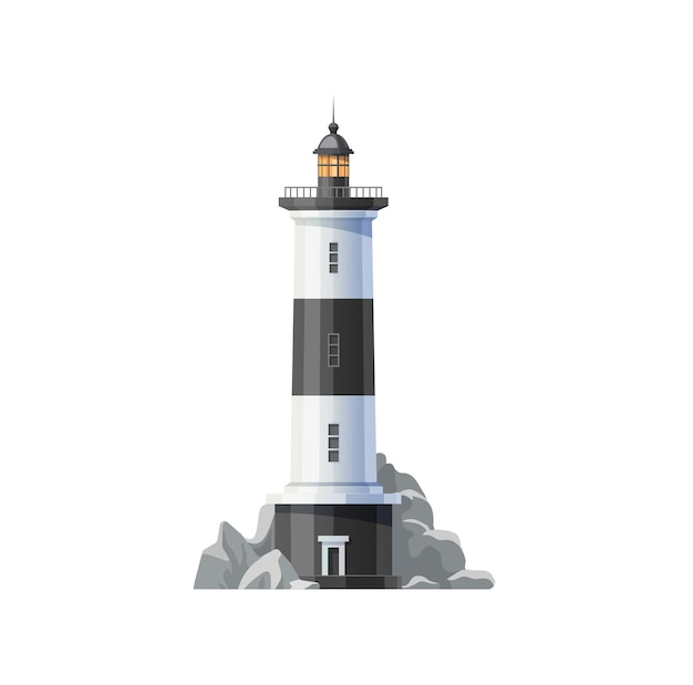 Sea lighthouse of ocean beach vector icon. beacon tower building with nautical navigation searchlight lamp, white black stripes and marine coast rocks isolated symbol design