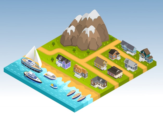 Sea line isometric composition