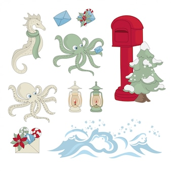 Sea mail new year color illustration set