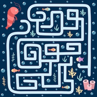 Sea maze game for kids. help the shrimp find the way to her home. underwater labyrinth worksheet.  illustration