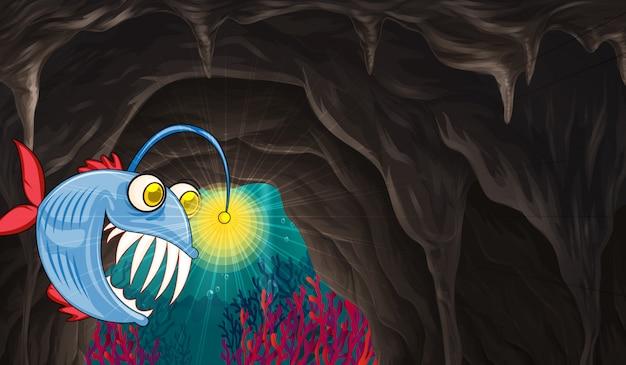 Sea monster swimming under the sea