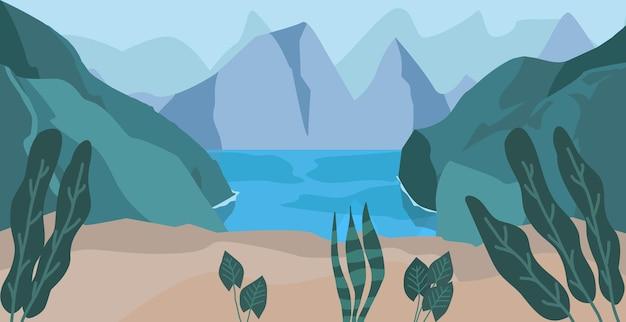Море горный пейзаж фон отпуск векторные иллюстрации