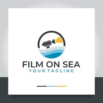 海の映画のロゴデザインカメラ海のフィルム