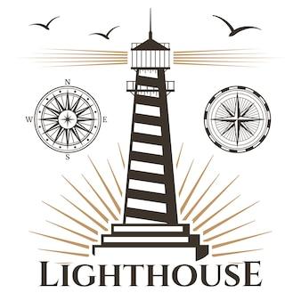 Sea nautical lighthouse and vintage compasses emblem