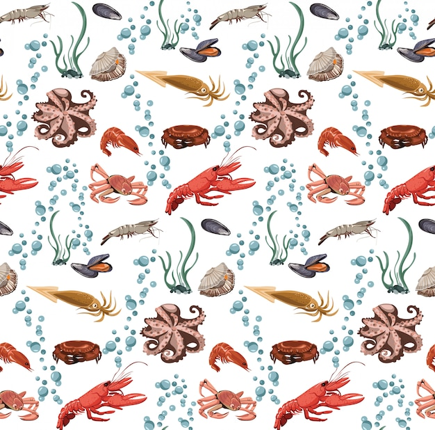 Sea and ocean animals seamless pattern