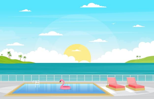 유람선 갑판 그림에 바다 바다 풍경 수영장