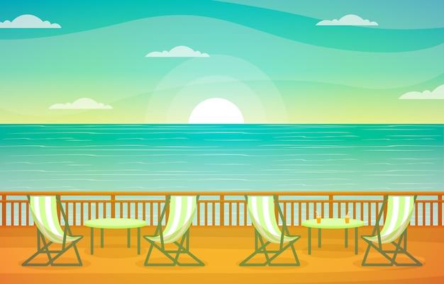 クルーズ船のデッキイラストを海海風景ビューテーブル椅子