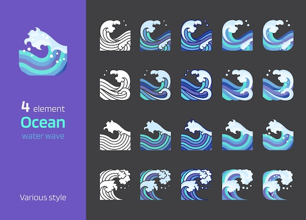Sea and ocean wave graphic line art element various style vector illustration square composition