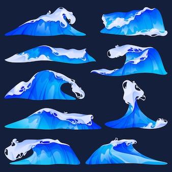 Sea or ocean waves set vector flat icons