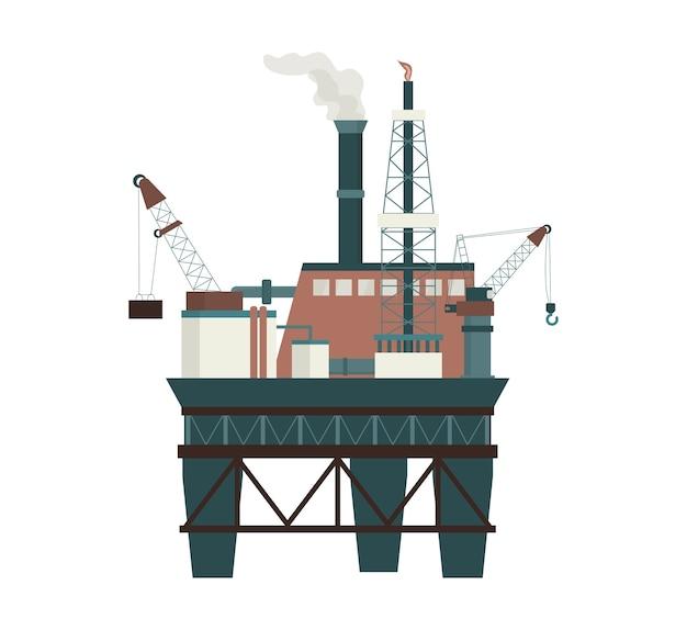 Бурение на морской нефтяной платформе для добычи нефти на шельфе. промышленная разведка нефти, дизельного топлива. современные технологии для освоения природных ресурсов.