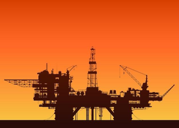 일몰에 바다 석유 장비입니다. 바다에서 석유 플랫폼입니다. 자세한 벡터 일러스트 레이 션.