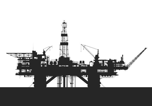 海の石油掘削装置。石油掘削プラットフォームのシルエット。