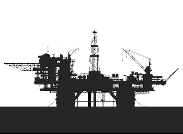Морская нефтяная вышка. нефтяная платформа в море. подробные векторные иллюстрации.