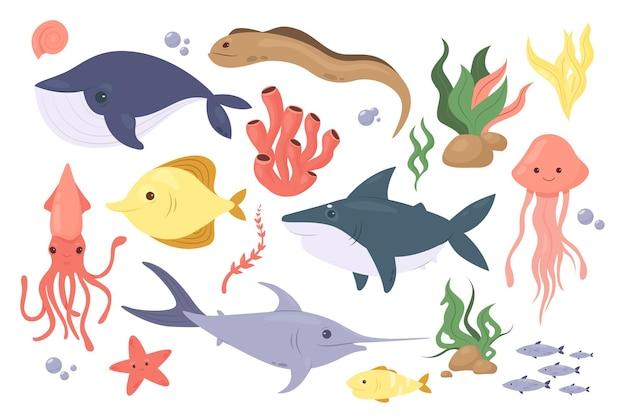 바다 또는 바다 물고기 수중 수생 동물 세트 불가사리 산호 해초 문어 상어