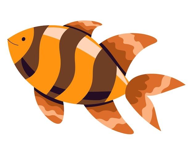 바다 또는 바다 해양 거주자, 줄무늬와 지느러미가 있는 금붕어의 고립된 아이콘. 수족관이나 동물의 환경. 수중 생태계. 야생 동물 탐험. 평면 스타일의 sealife 벡터