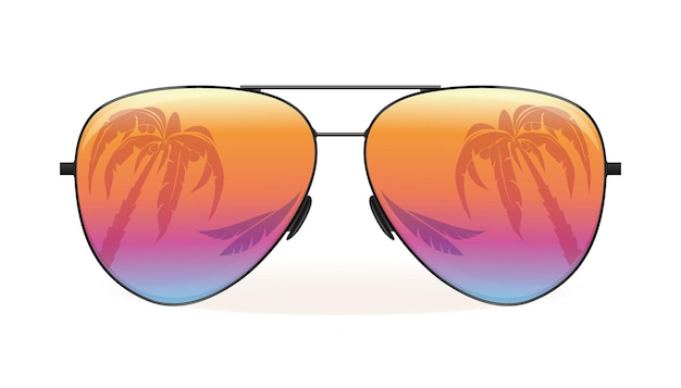 Sea and palm trees are reflected in sunglasses. summer design. vector illustration isolated on white background