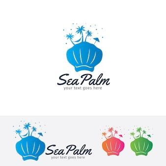 Sea palm vector logo template