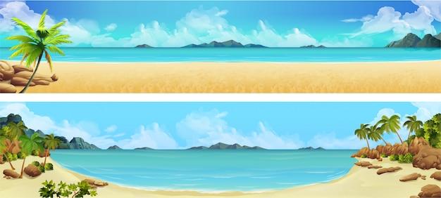바다 파노라마, 베이, 열대 해변. 배경