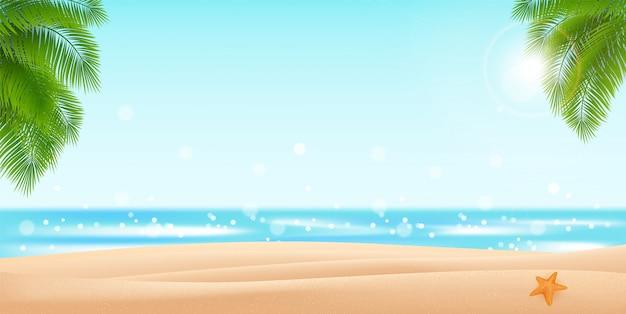 海のパノラマ、熱帯のビーチの背景。シュロの葉のデザインの砂と海のイラスト