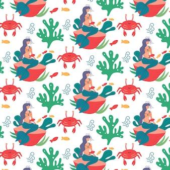 바다 무늬 인어 미역 게. 보육원 장식용 어린이 벽지. 현대 평면 벡터 원활한 그림