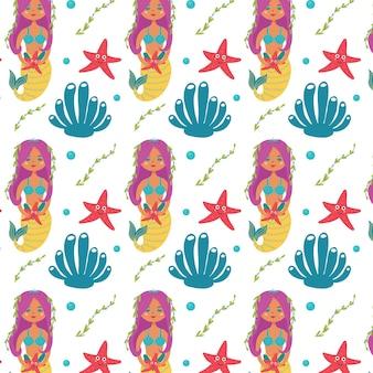바다 무늬 인어 불가사리 해초