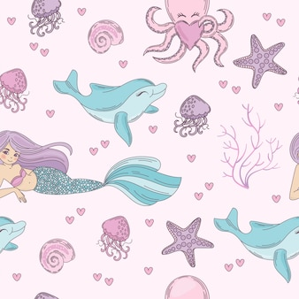 Sea pattern underwater seamless pattern vector illustration