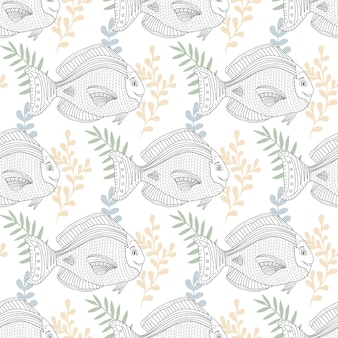 Sea pattern with fish character for fabric or coloring page design. scrapbook or packaging paper design. digital art