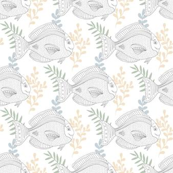 布地や彩色のページデザインのための魚の文字と海のパターン。スクラップブックまたは包装紙のデザイン。デジタルアート