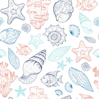 Морской образец с ракушками, коралловыми рифами, морскими звездами, водорослями. безшовная иллюстрация океана. морской винтажный стиль.
