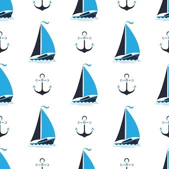 배와 앵커가 있는 바다 패턴입니다. 해양 스타일에 완벽 한 배경입니다.