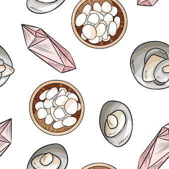 Sea pebble and quartz stones comic style seamless pattern.