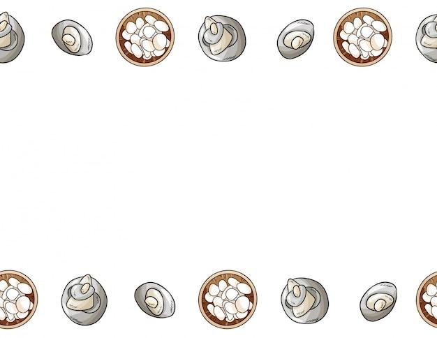 Sea pebble stones comic style frame seamless pattern