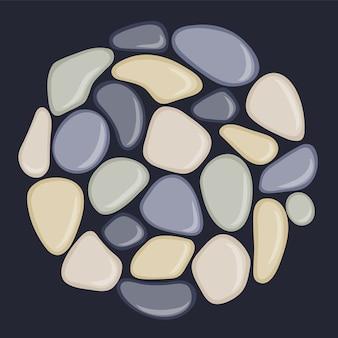 Морская галька расположена по кругу.
