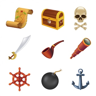 Sea pirate web icon set with human skull, saber, anchor, steering wheel, spyglass, black bomb, pipe, ancient chest and treasure map. illustration isolated on white background