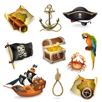 Sea pirates, vector clipart set