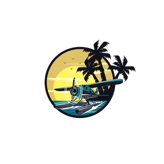 Sea plane and palm beach