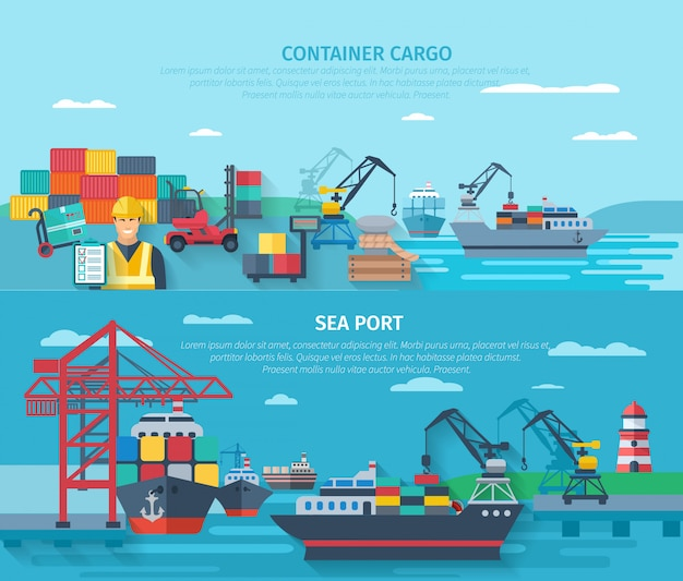 Sea port horizontal banner set with container cargo elements flat