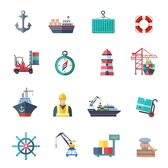 Sea port icons flat set