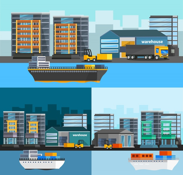 Sea port orthogonal compositions set Free Vector