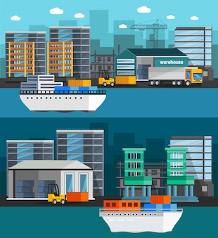 Sea port orthogonal illustration