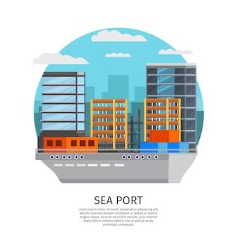 Морской порт круглый дизайн