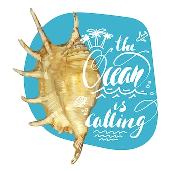 Sea quote lettering with realistic shell for t-shirt design and beach bags