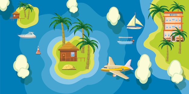 Sea rest background horizontal top view. cartoon illustration of sea rest background horizontal top view