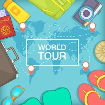 Sea rest concept world tour, cartoon style